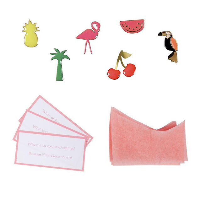 Tropical Thanksgiving Pink Flamingo Christmas Crackers Table Decorations Party Favor Poppers