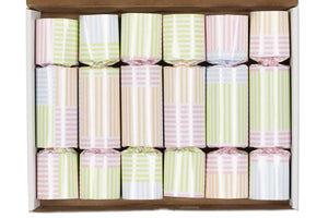 Spring Pastel Stripe Easter Decorations for Table Party Favor Crackers