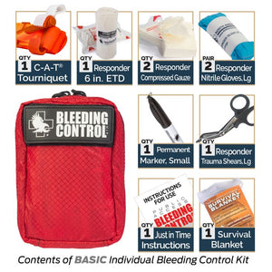 "bleeding control kit comes with cat tourniquet, responder 6"" etd, responder compressed gauze, nitrile gloves, permanent marker, trauma shears,instructions and survival blanket."
