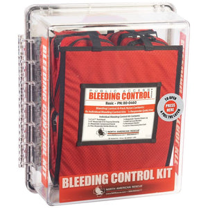 Public access bleeding control kit from north american rescue. This is the advanced clear polycarbonate kit.