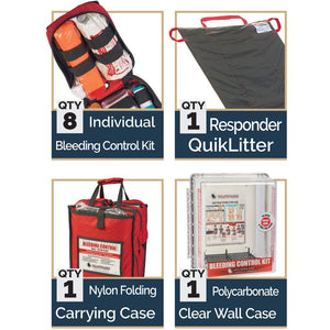 basic kit includes 8 bleeding control kits, responder quicklitter, carrying case and polycarbonate clear wall case.