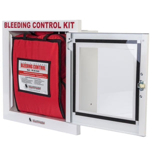 The metal wall kit open, revealing the bleeding control kit station