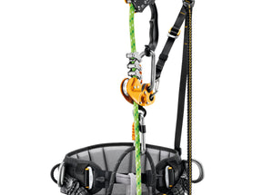 black sequoia harness shown in a single rope ascent rigging