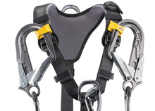 Load image into Gallery viewer, Black harness with yellow highlights showing yellow lanyard clips