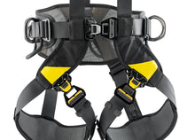 Load image into Gallery viewer, Black harness with yellow highlights legging close up
