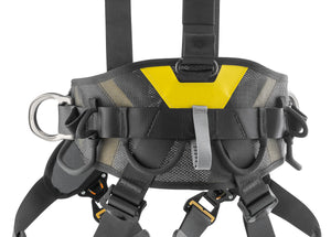 Black harness with yellow highlights lower back support view