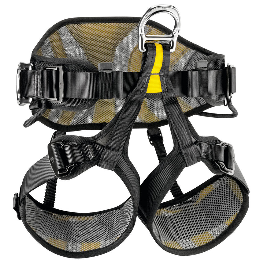 Black harness with yellow highlights