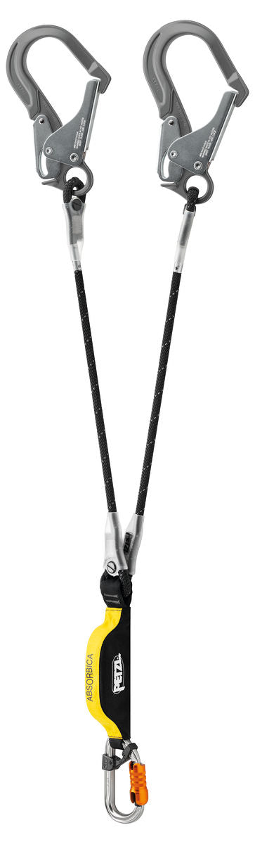 Double black lanyard with integrated energy absorber and MGO connectors