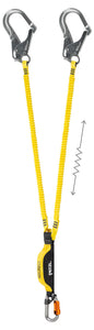 Double yellow lanyard with integrated energy absorber and MGO connectors