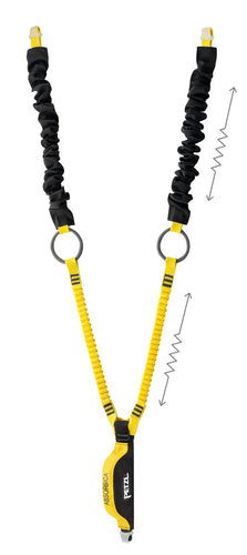 Black and Yellow Double lanyard with integrated intermediate tie-back rings and energy absorber