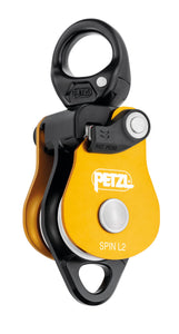 yellow Petzl Spin L2 double pulley with swivel Width=