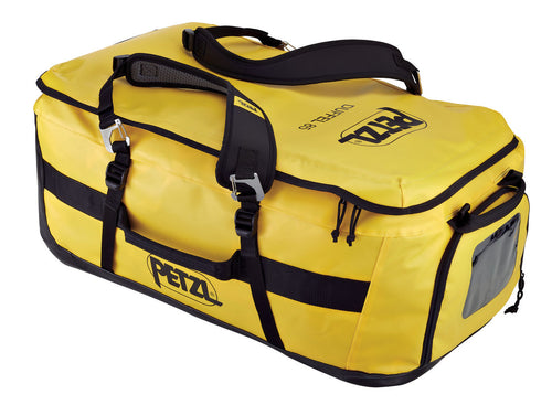 Petzl Duffel 85 carrying bag in black and yellow color