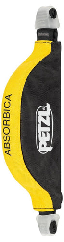 black and yellow Petzl energy absorber