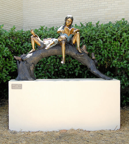 Manatee Library Sculpture - Girl & Boy Reading