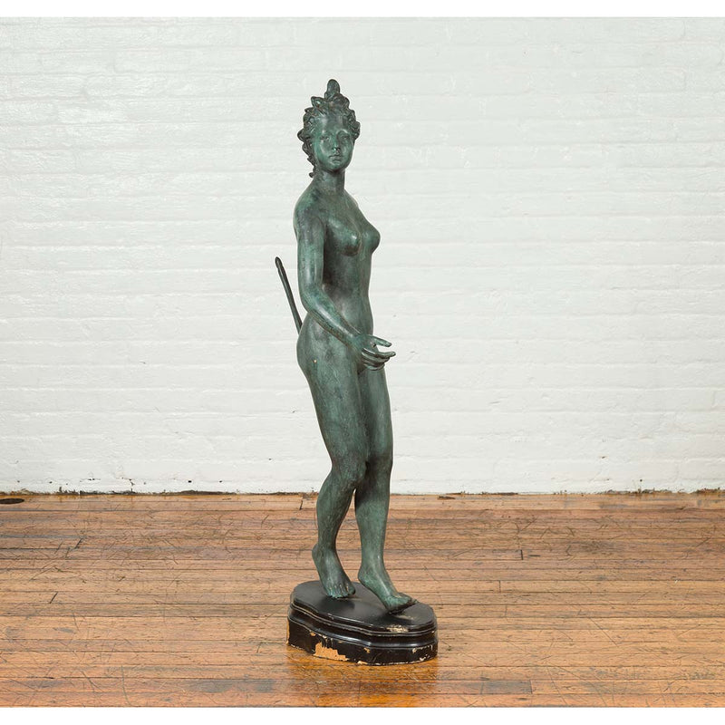 Greco-Roman Style Verde Bronze Vintage Statue of Diana the Huntress with her Bow
