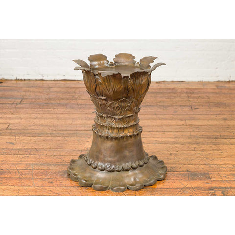Bronze Flower Pedestal with Acanthus Leaves and Palmettes, Contemporary