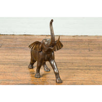 Contemporary Bronze Sculpture of a Trumpeting Elephant with Trunk Up