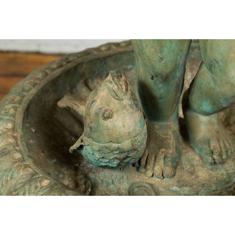 Greco Roman Style Vintage Putto and Fish Fountain with Distressed Verde Patina