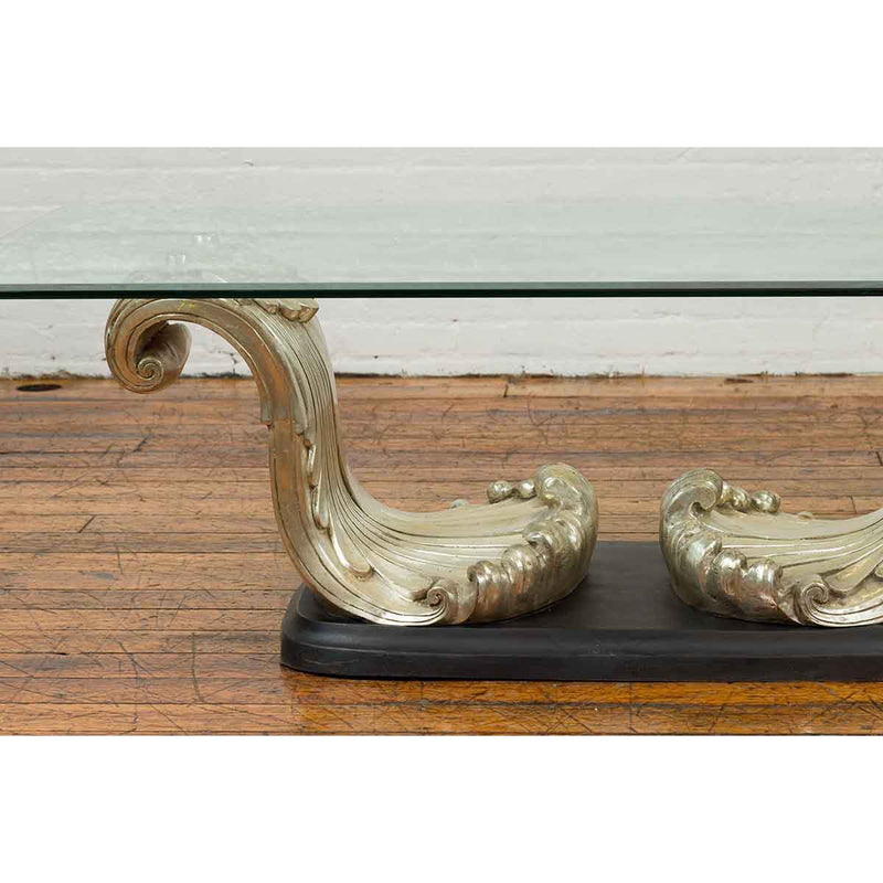 The Wave, Contemporary Silver on Bronze Scrolling Coffee Table Base