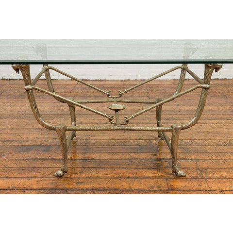 Directoire Style Silver Plated Bronze Coffee Table Base with Rams Heads
