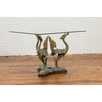 Bronze Contemporary Triple Dragon Table Base with Verde Patina and Gilt Accents