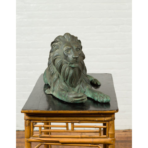 Vintage Cast Bronze Sculpture of a Reclining Lion with Verde Patina