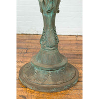 Bronze Classical Style Pedestal Urn with Putti Carrying a Basin on Their Heads