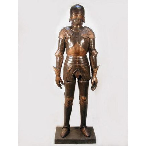 Bronze Knight with Mask Statue