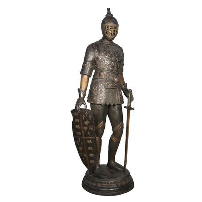 Bronze Standing Knight with Shield and Sword