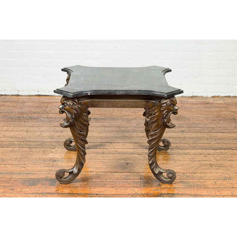 Vintage Renaissance Style Side Table with Grotesque Motifs and Black Marble Top
