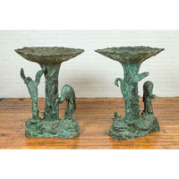 Contemporary Cast Bronze Planters with Cranes and Verdigris Patina, Sold Each