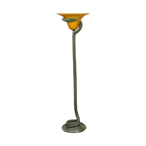 Contemporary Bronze Single Light Snake Floor Lamp with Goldenrod Glass Shade