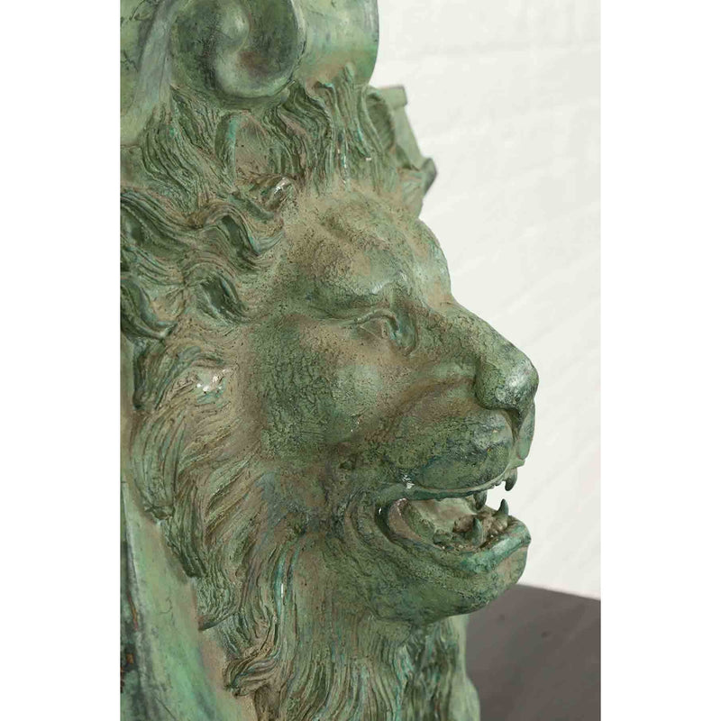 Contemporary Cast Bronze Roaring Lion Head Wall Fountain with Verde Patina