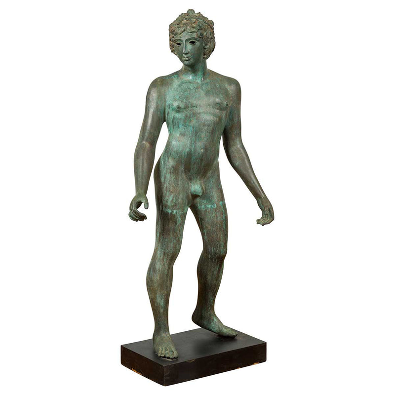 Greco Roman Style Vintage Verde Bronze Statue of a Male Nude with Grapes in Hair