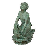 Contemporary Lost Wax Cast Bronze Sculpture of a Putto Riding a Dolphin