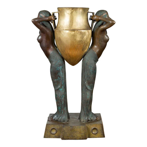 Vintage Bronze Egyptian Style Planter Depicting Two Maiden Carrying a Large Urn