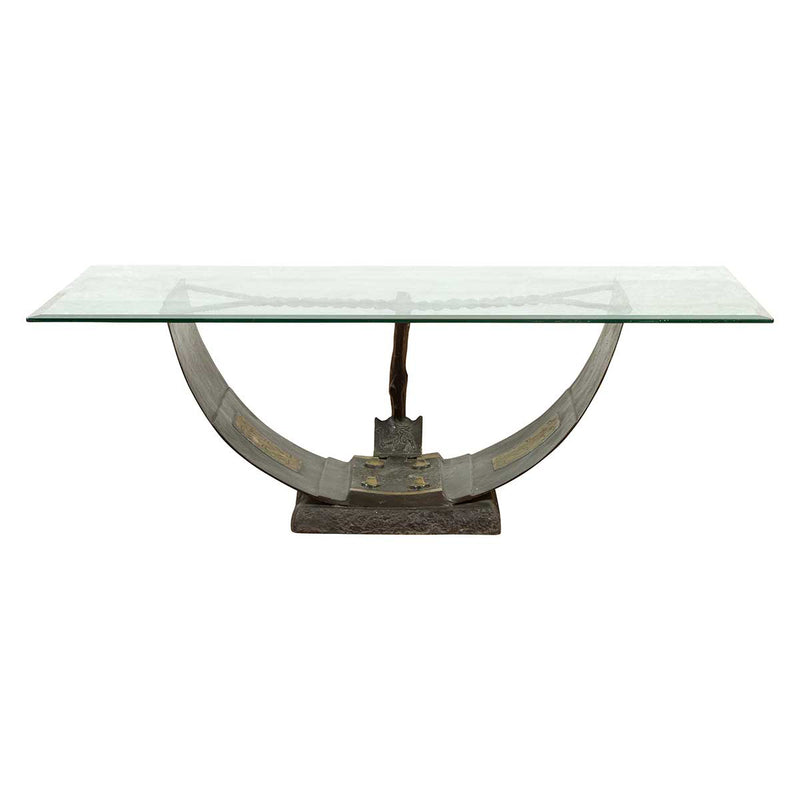 Egyptian Inspired Barge Style Bronze Coffee Table Base with Amun-Re Motif