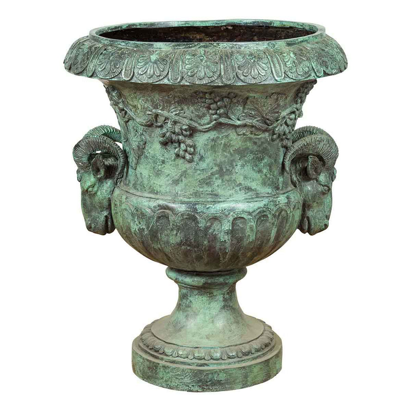 Large Classical Roman Style Bronze Urn Planter with Verde Patina and Rams Heads