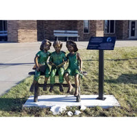 Summer Studies - Three Children Reading on Bench Bronze Statue-Bronze Statue of Children Reading-Randolph Rose Collection-RG1015