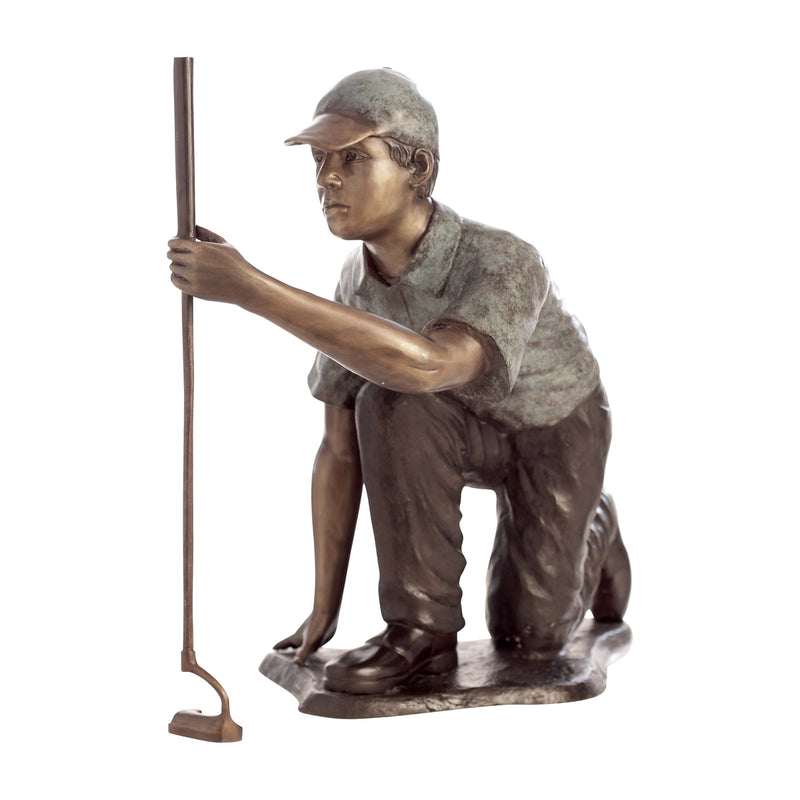 Bronze Golf Statue of Man Reading the Green