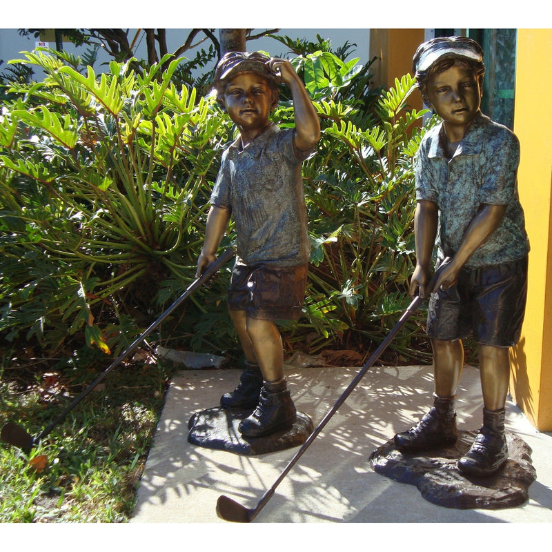 Bronze Sports Statue of a Boy and Girl Playing Golf
