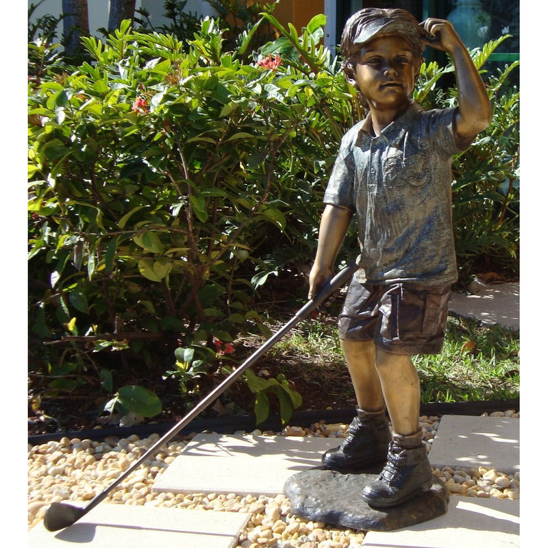 Bronze Sports Statue of a Girl Playing Golf