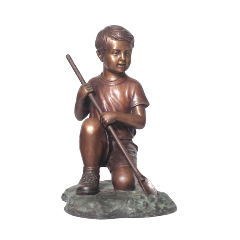 Bronze Statue of a Boy Digging in the Garden
