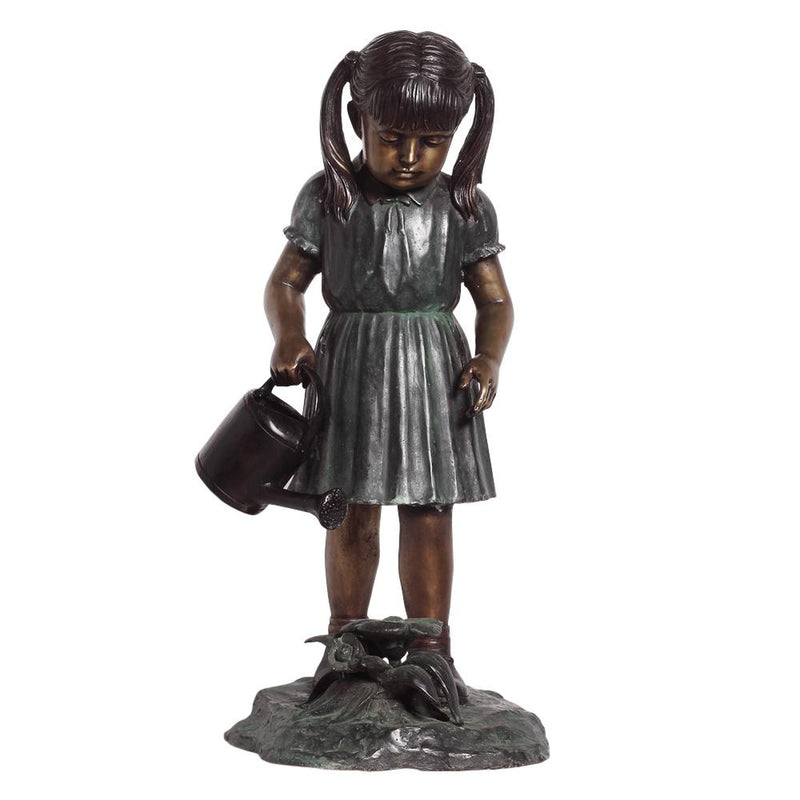 Bronze Statue of a Girl with a Watering Can