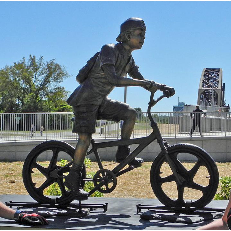 Boy Riding a Bicycle - Bike Bronze Statue
