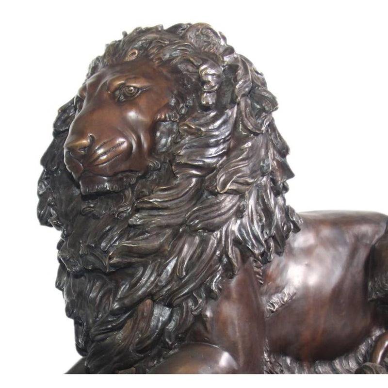 Pair of Bronze Lion Statues and Bronze Lion Sculpture