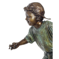 Children Bronze Boy Reaching for Frog Statue Holding Pail