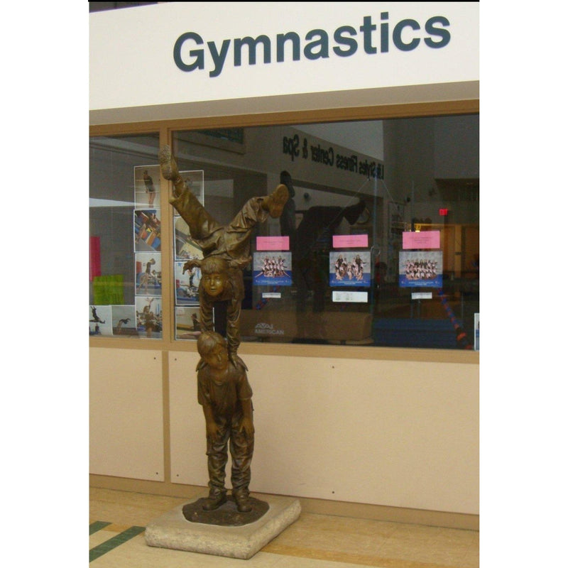 Bronze Sports Statue of Children Playing Acrobat Leap Frog