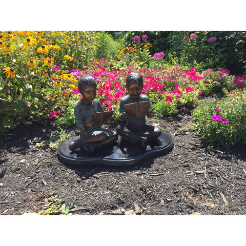 Boy and Girl Children Reading Statue on Marble Base
