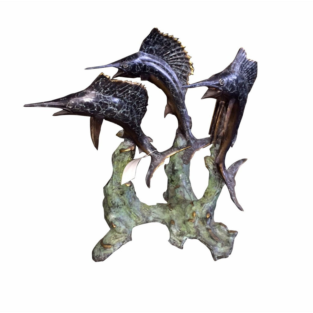 Marlin Swordfish Billfish Bronze Art Statue Sculpture Table Base